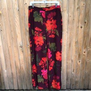 Long Tall Sally Floral print wide leg pants Sz 10